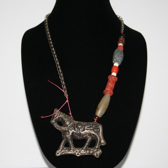 Vintage Jewelry - Vintage silver horse necklace